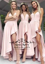 Blush Pink High Low Plus Size Bridesmaids Dresses 2019 A Line Spaghetti  Straps Long Satin Country Beach wedding Guest Gowns Maid Of Honors d186ac3dab65