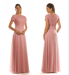 fc255d779098 Custom Made Dusty Pink Lace Chiffon Long Bridesmaid Dresses With Cap  Sleeves A-line Long Floor Length Women Modest Wedding Party Dresses
