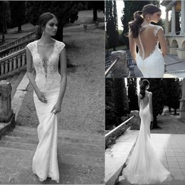 Discount wedding dresses 2019 Bridal Winter Lace Sheer Wedding Dresses Deep V Neck Illusion Back Covered Button Mermaid Court Train Wedding Bridal Dresses Gown