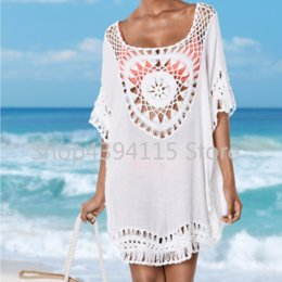 3632ee2a02a3d Crochet Cover up 2018 Tunic for Beach Women Swimwear Beach Cover up Plus  size Summer Top Women Swim suit