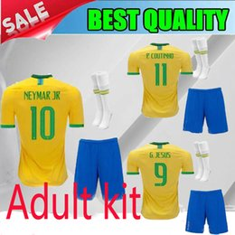 e226071661f 2019 Brazil home Adult kit Soccer Jersey 19 20 Brazil yellow FIRMINO  MARCELO G.JESUS P.COUTINHO football shirts+Shorts socks