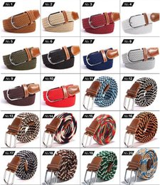 Discount buckle Unisex Canvas Woven Elastic Leather Pin Buckle Waist Belt Stretch Waistband Canvas Pin Buckle Belt Braided Elastic Belt CCA11245 20pcs