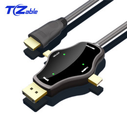 Discount hdmi cable USB-C HDMI Cable DisplayPort Type C MINI Display Port Male Cable 4K 3 In 1 Multi-Function Conversion Line For macbook pro For Xiaomi