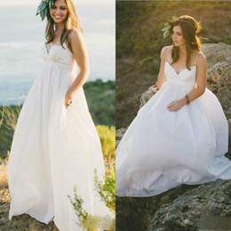 238e2f644a6 2019 Maternity Beach Wedding Dresses Cheap Bridal Gowns Spaghetti Straps  Empire Simple Vestidos De Novia Plus Size Boho Wedding Dress