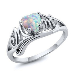 2017 wedding rings New Heart-shaped Big Gemstone Opal Ring Love Mom Rings Fashion Mother's day and mother's birthday gift