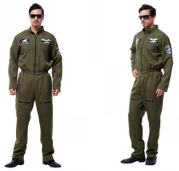 Discount halloween costumes Adult man Pilot Aviator Cosplay Halloween Policeman Special Forces Costumes Easter Purim Carnival Masquerade Party costume