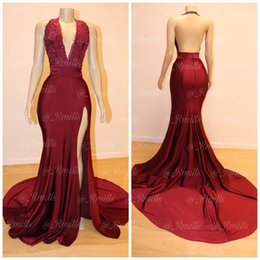 2019 Burgundy Sexy Deep V Neck Split Side Mermaid Prom Dresses Lace Appliques Backless Ruched Long Party Occasion Gowns Long Evening Dress
