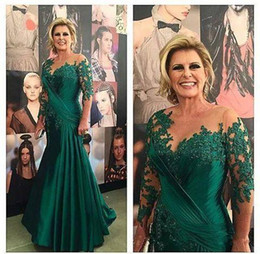 e8ec4cd1d24 Scoop Chiffon Dark Green Mermaid Mother of the Bride Dresses Long Sleeve  Appliques Satin Ruched Plus Size Evening Dresses Brides Gowns