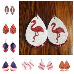 2017 jewelry 18 Styles Sports PU Leather Flamingo Earrings Vintage Baseball America National Flag Football Earring Kids Jewelry 2pcs pair CCA11246 50pair