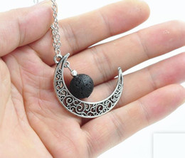 Discount essential oils New 14mm Lava-rock Stone Beads Necklace Moon Shaped Pendant Necklace Aromatherapy Essential Oil Diffuser Neck Fashion Jewelry