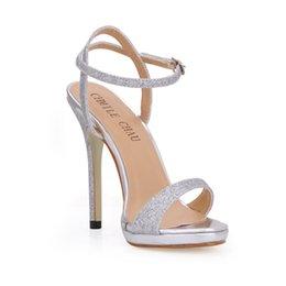 CHMILE CHAU Glitter Elegant Bridal Women Shoes Stiletto High Heel Ankle  Strap Platform Sandal Plus Size Zapatos Mujer 0640ASL-A4 fdc3cf99550c