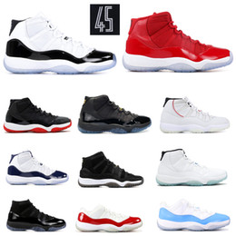 Platinum Tint 11 11s Concord 45 Basketball Shoes Men Women Cap and Gown Prom Night Bred Space Jam win like 82 96 Sport Sneaker With Box
