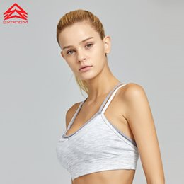 5bf6a6c424 Syprem Sports Bra Fitness Women Double layer Solid Sport Bra Top Crossed  straps Shockproof Padded Running yoga 1FT1030