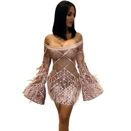 New 2019 Sequins with Feather Dress Fashion Long Sleeve Off the Shoulder Clubwear  Celebrity Sexy Women Night Out Dress Free shipping 47713bb64bd9
