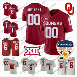 36ceed228 Custom Oklahoma Sooners College Football Red white Stitched NCAA Any Name  Number Mayfield 9 Kenneth Murray Jr 2019 Orange Bowl Jump Jerseys