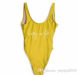 56e356f1b2aca HAPPY AS SWIMSUITS Funny Letter 2018 women Yellow push up swimwears sexy  One Pieces swimsuit bikinis high wait bathing suit ywxk