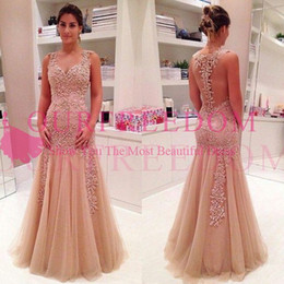 2017 dresses 2019 Elegant V Neck Evening Dresses Lace Appliques Back Cover Buttons Mermaid Tulle Floor Length Formal Occasion Prom Dresses Custom Made