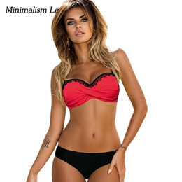 1d6076fab3a Minimalism Le Lace Patchwork Bikini Sexy Plus Size Push Up Swimwear Women  Bathing Suit Solid Bikini Set Nice Pop Swimsuit BK774