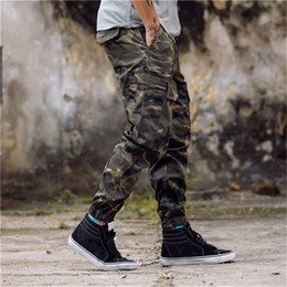 Discount pants New Arrival Mens Pants Fashion Camouflage Jogging Pants Womens Zipper Overalls Beam Foot Trousers Irregular Joggers Pants