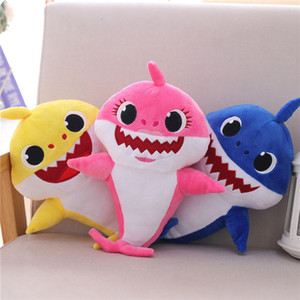PinkFong Baby Shark Stuffed Lighting with sing Dolls Squeeze Cartoon Plush Toys Grandpa Grandma Soft Doll for Kids Christmas Gift Party Supp