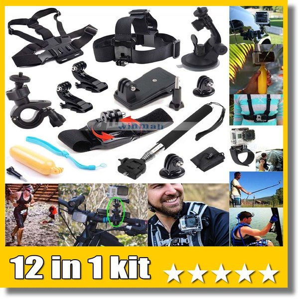 12 in 1 acce orie head che t belt trap mount outdoor port bundle kit for action camera eken h9 jcam yi camera