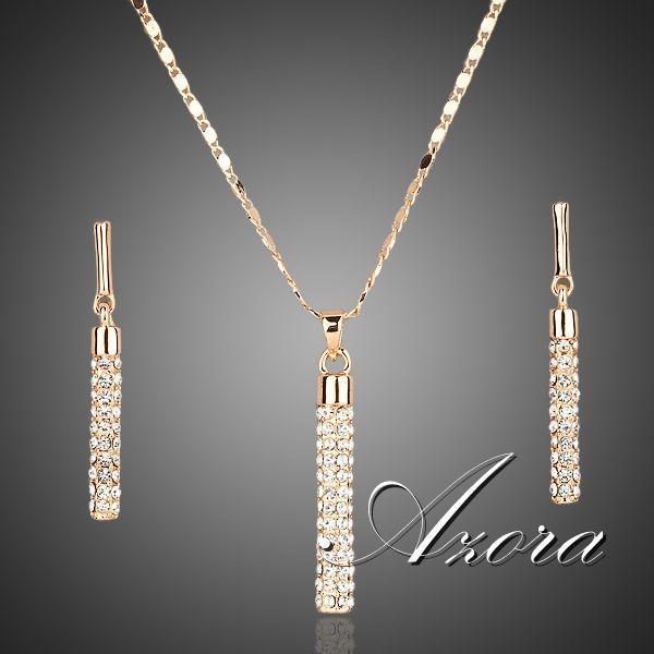 Joyería AZORA 18K plateó los pendientes de gota Bienes oro Stellux y colgante, collar Establece TG0007