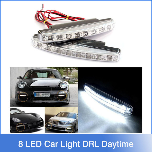 Бесплатные 2шт доставки 8 светодиодов Универсальная автомобильная света DRL дневные ходовые лампы головного света Super White