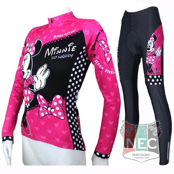 Mini Mouse rosa abbagliano Maglia a manica lunga ciclismo maglia Quick Dry Ciclismo abbigliamento taglie forti maglia abito Maglia ciclo Bike