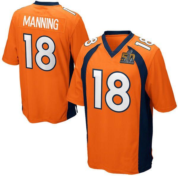 # 18 Мэннинг Футбол майки с Супер Боул 50 Патч Мужчины трикотажные изделия футбола элита американских футболок чемпион Sportswears