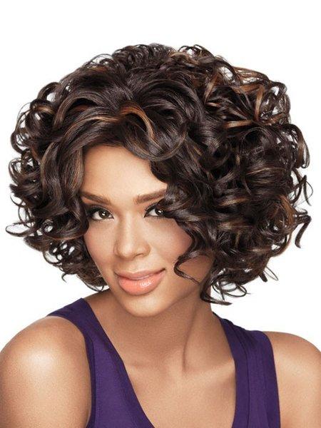 Di 1pcs Lady parrucca di capelli sintetici Marrone Giallo Corti Capelli mossi parrucche umane piene del merletto Parrucche S30172