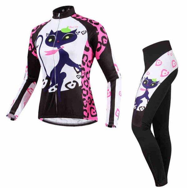 2015 venta caliente gato Noche imprimir Traje de Mujeres Ciclismo (Jersey + Pants) más cálido otoño e invierno esquilado Top OEM