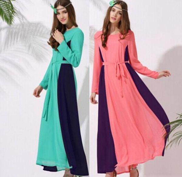 Women Chiffon Long Dress 2015 New Spring And Summer Abaya Islamic ...