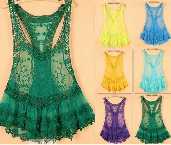 2014 Women Ladies Vintage Sweet Cute Fashion Crochet Knit Floral Hollow Out Lace Slim Fit Beach Blouse Shirt 8 Color, jinmei02, Women's Blouses & Shirts  - buy with discount