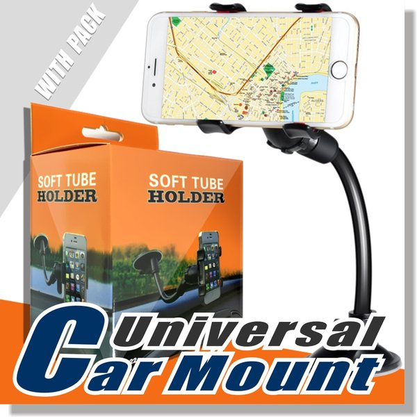 For iphone 6 6  double clip car mount  ea y to u e univer al long arm neck 360°rotation wind hield phone holder for cell phone   retail pac