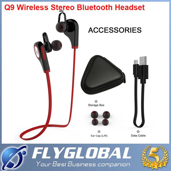 2016 Bluetooth 4.1 Беспроводные наушники Спортивные Q9-вкладыши Запуск стерео гарнитуры Bluetooth наушники для мобильного телефона iPhone смартфон Android