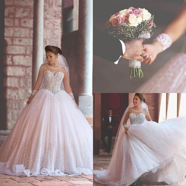 Роскошные с длинным рукавом Sheer Тюль Свадебные платья 2019 бисером бальное платье а
