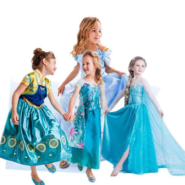 2015 Froze Золушка платье мультфильм Анна Elsa девочек принцесса платья Мода Производительность Дети платье партии Детские платья шнурка Retail