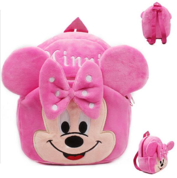 children's backpack Cute Pink Minnie Plush Backpack Child PRE School Kid Boy and Girl Cartoon Bag School bag