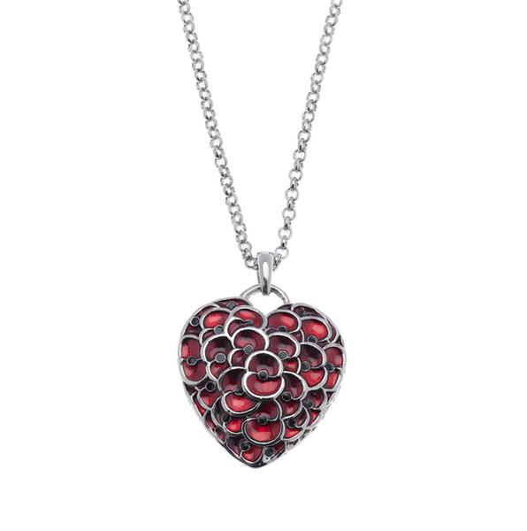 2015 новый рубиновый красный эмаль сердце Мак кулон ожерелье ювелирные изделия бри