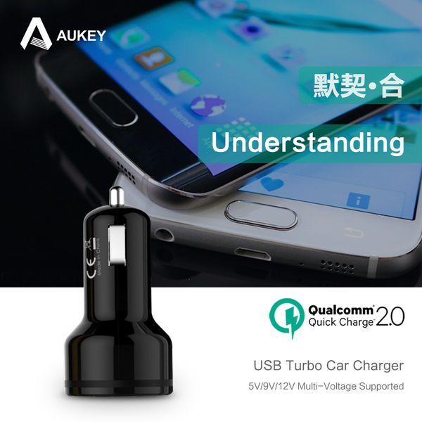 НОВЫЙ [Qualcomm Сертифицированный] Aukey Быстрая зарядка 2.0 30W 2 порта USB Автомобильное зарядное устройство адаптер (AIPower 5V / 2.4A + Быстрая зарядка) + Micro кабель
