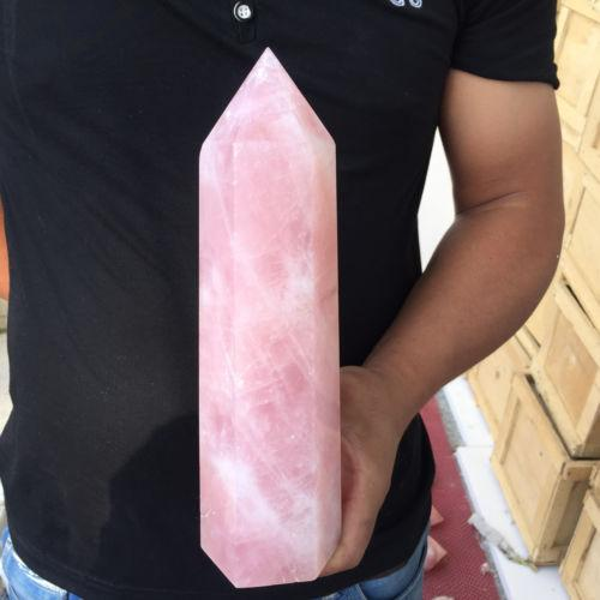 Около 600 г Натуральный прозрачный розовый кристалл кварца обелиск Кристалл точки фото