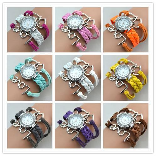 Infinity Orologi tessuto Orologi signora Bracelet Wrap Orologi amore del cuore del doppio del cuoio orologi orologi al quarzo delle donne di colore della miscela