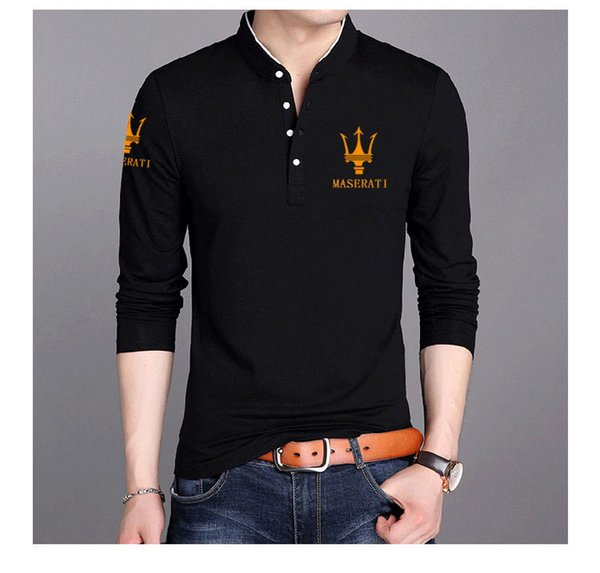 Men's Polos long-sleeved lapel cotton Slim youth 2018 autumn new Maserati printing Men's Polos clothing (goodsell898) Colorado Springs Buying a used goods
