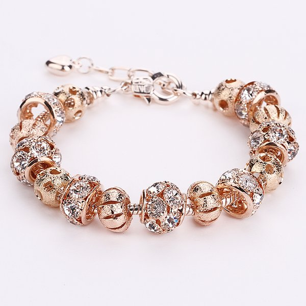 AA35 Romantic Rose Gold Color Crystal European 925 Silver Charm Beads DIY Snake Chain Bracelets Adjustable