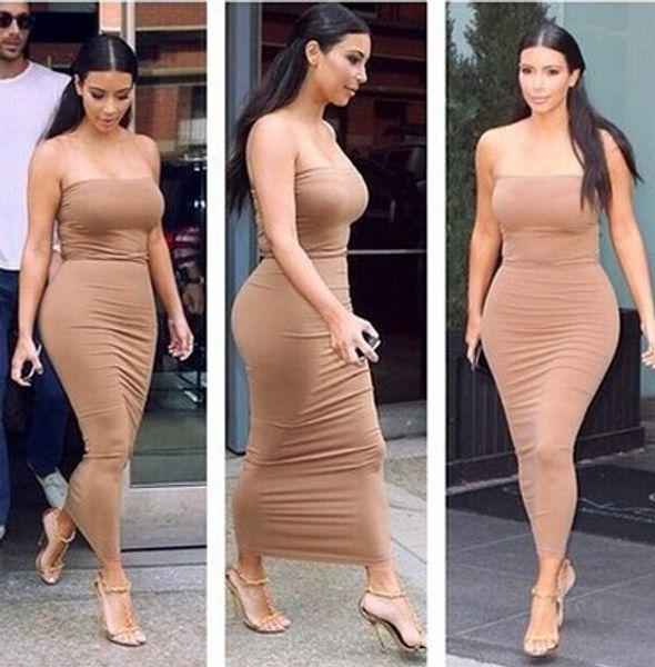 Оптово-2015 летние женщины сексуальная без бретелек длинное платье повязки Bodycon Ким Кардашян знаменитости повседневные