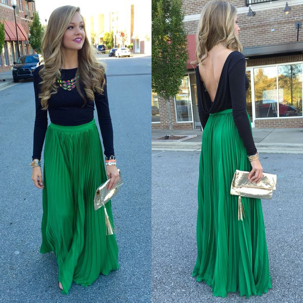 2015 Colorful Green Chiffon Skirts Custom Made A-line Maxi Skirts High Quality Floor Length Chiffon Skirts Women Clothing