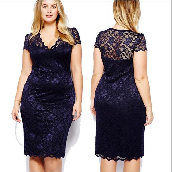 2014 más tamaño ropa 3xl cordón sexy medio largo cuerpo con manga corta vestidos de fiesta
