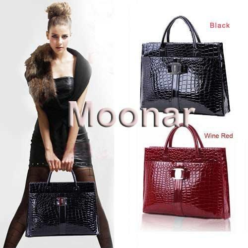 wholesale-45 lady crocodile pattern purse handbag hobo tote bag black red b271#m4 (260359850) photo