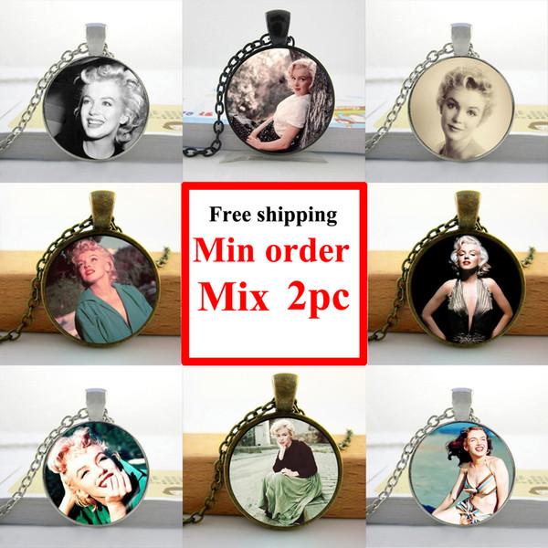 NS--00487 Мэрилин Монро ожерелье Мэрилин Монро ювелирные изделия стекло кабошон ожер