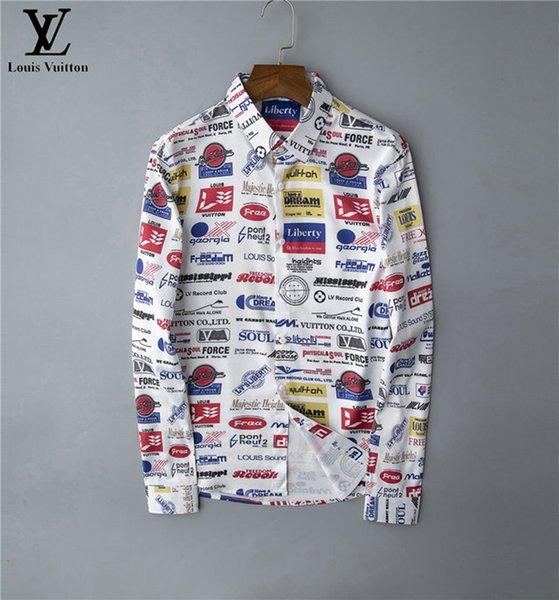 Brand Мужского дизайнерских рубашек с длинным рукавом Firmate рубашка платья вскользь роскошной сорочкой клетчатой рубашкой Homme кнопка Up Tops 035 фото